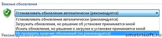 Как отключить автоматическое обновление Windows (7)