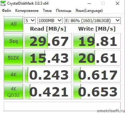 Скорость диска 2016-03-27 23 57 58 Диск E WD USB 1000